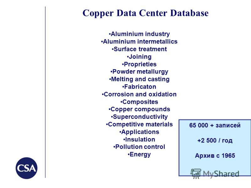 Copper Data Center Database 65 000 + записей +2 500 / год Архив с 1965 Aluminium industry Aluminium intermetallics Surface treatment Joining Proprieties Powder metallurgy Melting and casting Fabricaton Corrosion and oxidation Composites Copper compou