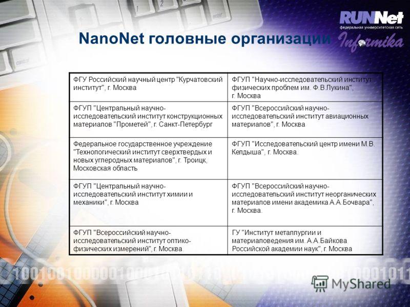 NanoNet головные организации ФГУ Российский научный центр