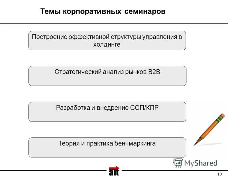 10 Темы корпоративных семинаров Разработка и внедрение ССП/КПР Теория и практика бенчмаркинга Стратегический анализ рынков В2В Построение эффективной структуры управления в холдинге