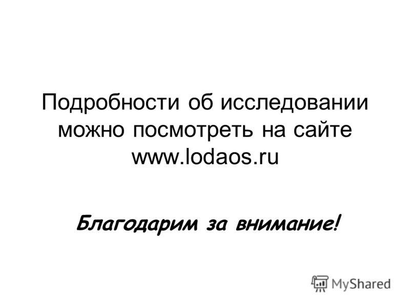 Подробности об исследовании можно посмотреть на сайте www.lodaos.ru Благодарим за внимание!