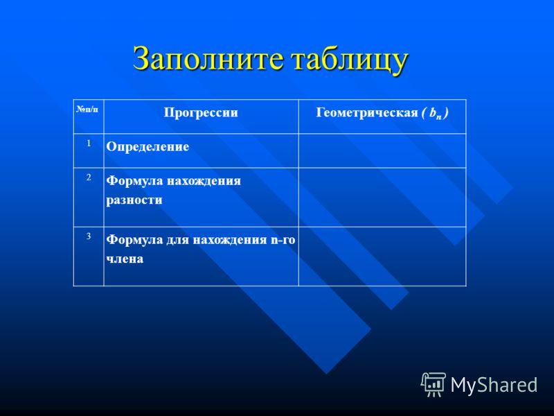 Заполните таблицу п/п ПрогрессииГеометрическая ( b n ) 1 Определение 2 Формула нахождения разности 3 Формула для нахождения n-го члена