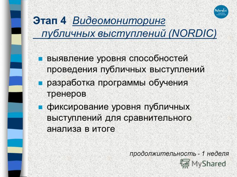 Этап 4 Видеомониторинг публичных выступлений (NORDIC) n выявление уровня способностей проведения публичных выступлений n разработка программы обучения тренеров n фиксирование уровня публичных выступлений для сравнительного анализа в итоге продолжител