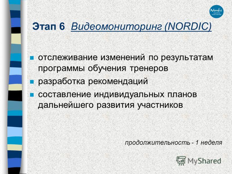 Этап 6 Видеомониторинг (NORDIC) n отслеживание изменений по результатам программы обучения тренеров n разработка рекомендаций n составление индивидуальных планов дальнейшего развития участников продолжительность - 1 неделя