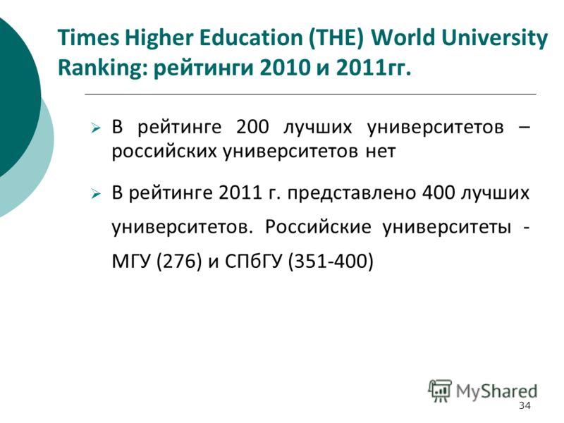 34 Times Higher Education (THE) World University Ranking: рейтинги 2010 и 2011гг. В рейтинге 200 лучших университетов – российских университетов нет В рейтинге 2011 г. представлено 400 лучших университетов. Российские университеты - МГУ (276) и СПбГУ