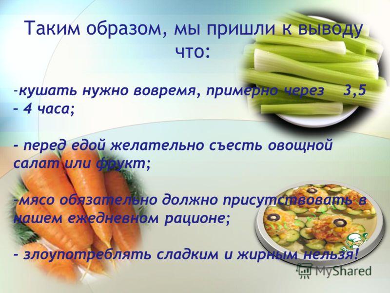 Таким образом, мы пришли к выводу что: -кушать нужно вовремя, примерно через 3,5 – 4 часа; - перед едой желательно съесть овощной салат или фрукт; -мясо обязательно должно присутствовать в нашем ежедневном рационе; - злоупотреблять сладким и жирным н