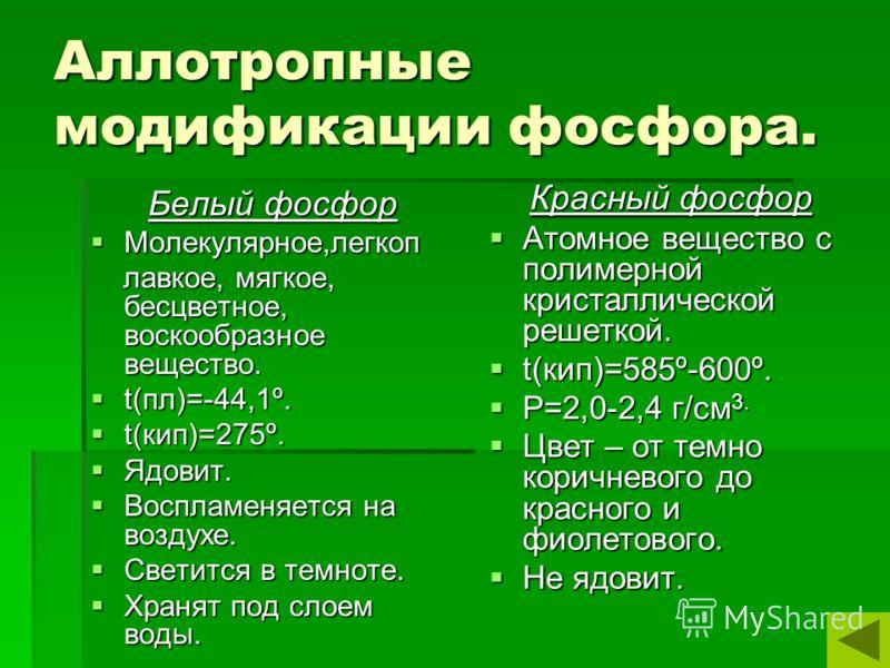 Аллотропные модификации фосфора. Белый фосфор Молекулярное,легкоп Молекулярное,легкоп лавкое, мягкое, бесцветное, воскообразное вещество. лавкое, мягкое, бесцветное, воскообразное вещество. t(пл)=-44,1º. t(пл)=-44,1º. t(кип)=275º. t(кип)=275º. Ядовит