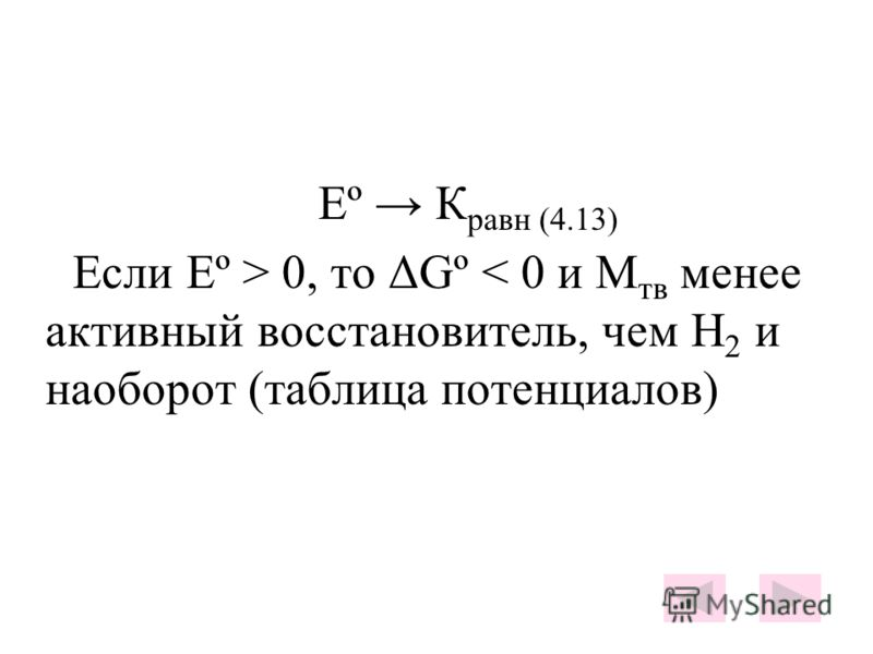 Еº К равн (4.13) Если Еº > 0, то ΔGº < 0 и М тв менее активный восстановитель, чем Н 2 и наоборот (таблица потенциалов)