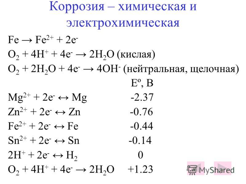 Коррозия – химическая и электрохимическая Fe Fe 2+ + 2e - O 2 + 4H + + 4e - 2H 2 O (кислая) O 2 + 2H 2 O + 4e - 4ОH - (нейтральная, щелочная) Eº, B Mg 2+ + 2e - Mg -2.37 Zn 2+ + 2e - Zn -0.76 Fe 2+ + 2e - Fe -0.44 Sn 2+ + 2e - Sn -0.14 2H + + 2e - H