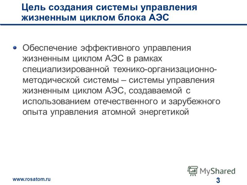 www.rosatom.ru 12 Цель создания системы управления жизненным циклом блока АЭС Обеспечение эффективного управления жизненным циклом АЭС в рамках специализированной технико-организационно- методической системы – системы управления жизненным циклом АЭС,