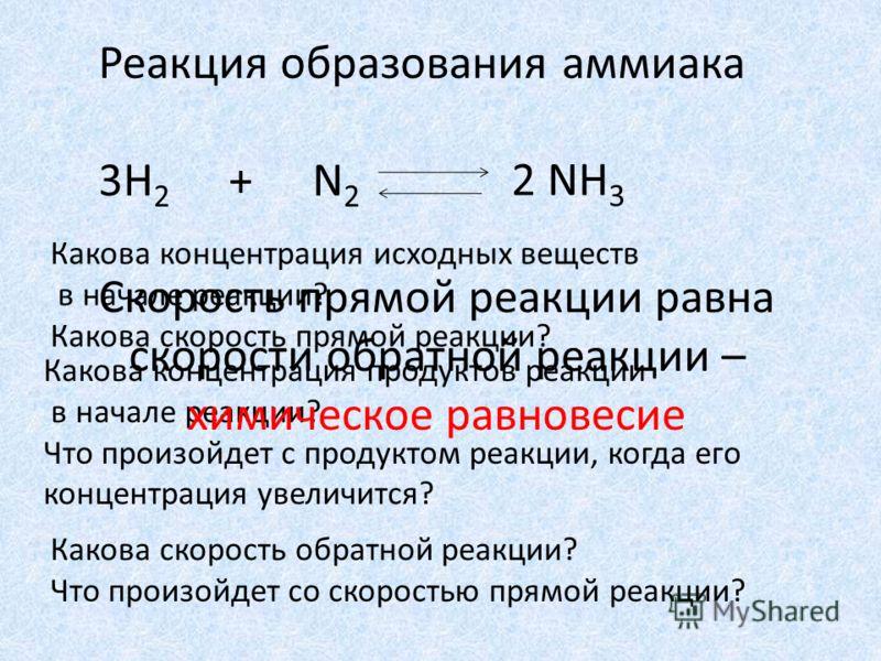 Реакция образования аммиака 3H 2 + N 2 2 NH 3 Какова концентрация исходных веществ в начале реакции? Какова скорость прямой реакции? Какова концентрация продуктов реакции в начале реакции? Что произойдет с продуктом реакции, когда его концентрация ув