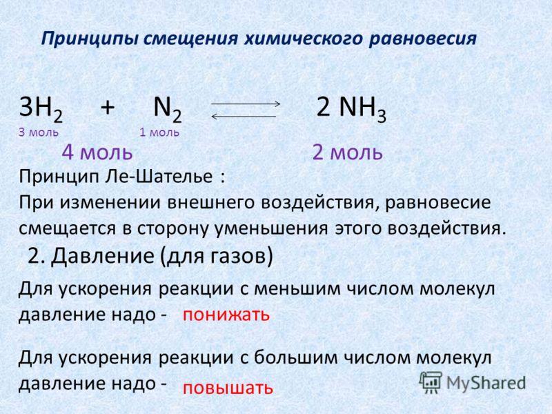 Принципы смещения химического равновесия 3H 2 + N 2 2 NH 3 2. Давление (для газов) Принцип Ле-Шателье : При изменении внешнего воздействия, равновесие смещается в сторону уменьшения этого воздействия. Для ускорения реакции с меньшим числом молекул да