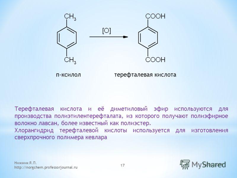 п-ксилол терефталевая кислота Терефталевая кислота и её диметиловый эфир используются для производства полиэтилентерефталата, из которого получают полиэфирное волокно лавсан, более известный как полиэстер. Хлорангидрид терефталевой кислоты использует