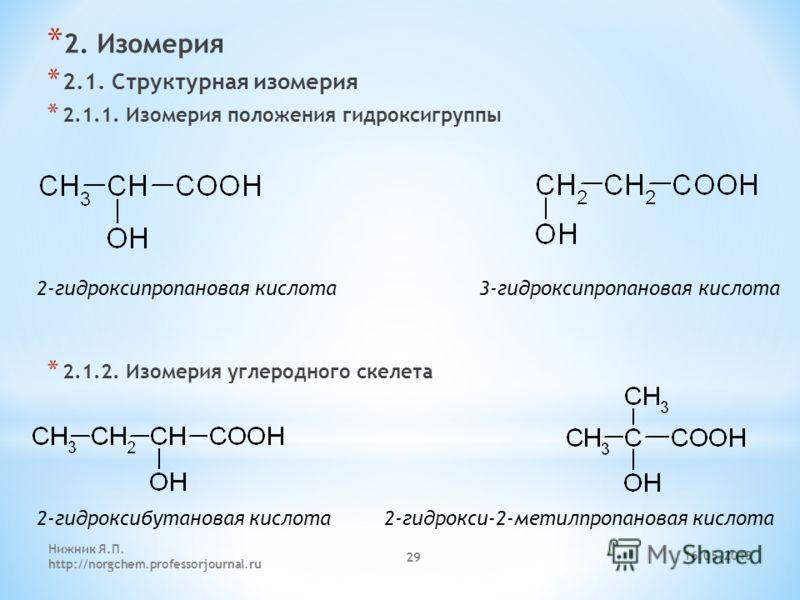 * 2. Изомерия * 2.1. Структурная изомерия * 2.1.1. Изомерия положения гидроксигруппы * 2.1.2. Изомерия углеродного скелета 2-гидроксипропановая кислота 3-гидроксипропановая кислота 2-гидроксибутановая кислота 2-гидрокси-2-метилпропановая кислота 16.0