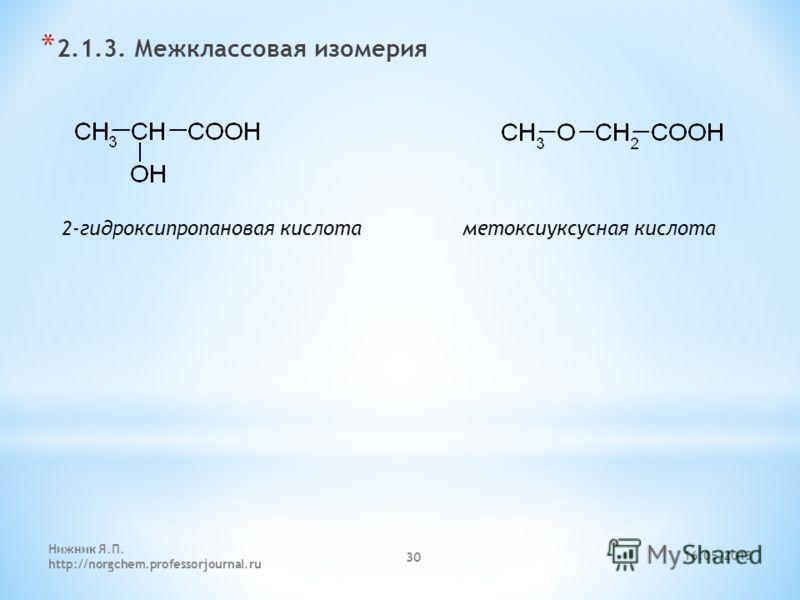 * 2.1.3. Межклассовая изомерия 2-гидроксипропановая кислота метоксиуксусная кислота 16.05.2013 Нижник Я.П. http://norgchem.professorjournal.ru 30