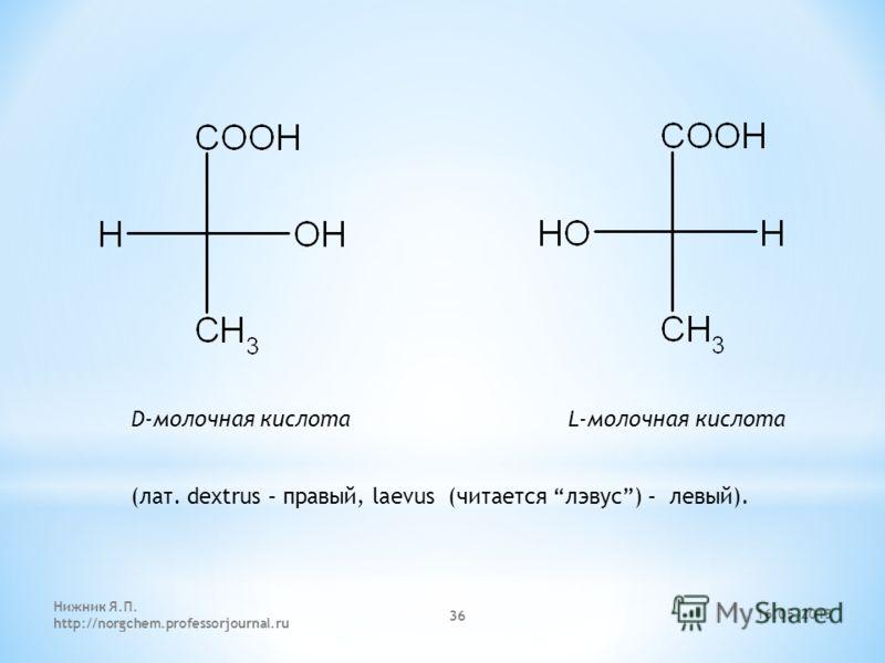 D-молочная кислота L-молочная кислота (лат. dextrus – правый, laevus (читается лэвус) – левый). 16.05.2013 Нижник Я.П. http://norgchem.professorjournal.ru 36