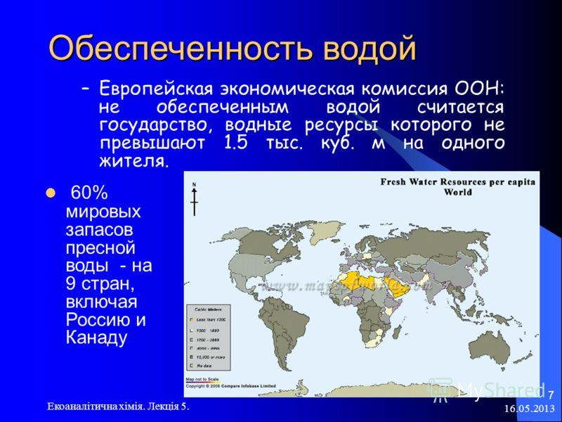 16.05.2013 Екоаналітична хімія. Лекція 5. 7 Обеспеченность водой –Европейская экономическая комиссия ООН: не обеспеченным водой считается государство, водные ресурсы которого не превышают 1.5 тыс. куб. м на одного жителя. 60% мировых запасов пресной