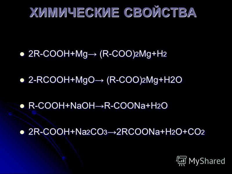 ХИМИЧЕСКИЕ СВОЙСТВА 2R-СООН+Mg (R-СОО) 2 Mg+Н 2 2R-СООН+Mg (R-СОО) 2 Mg+Н 2 2-RСООН+MgО (R-СОО) 2 Mg+Н2О 2-RСООН+MgО (R-СОО) 2 Mg+Н2О R-СООН+NaОНR-СООNa+Н 2 О R-СООН+NaОНR-СООNa+Н 2 О 2R-СООН+Na 2 СО 3 2RСООNa+Н 2 О+СО 2 2R-СООН+Na 2 СО 3 2RСООNa+Н 2