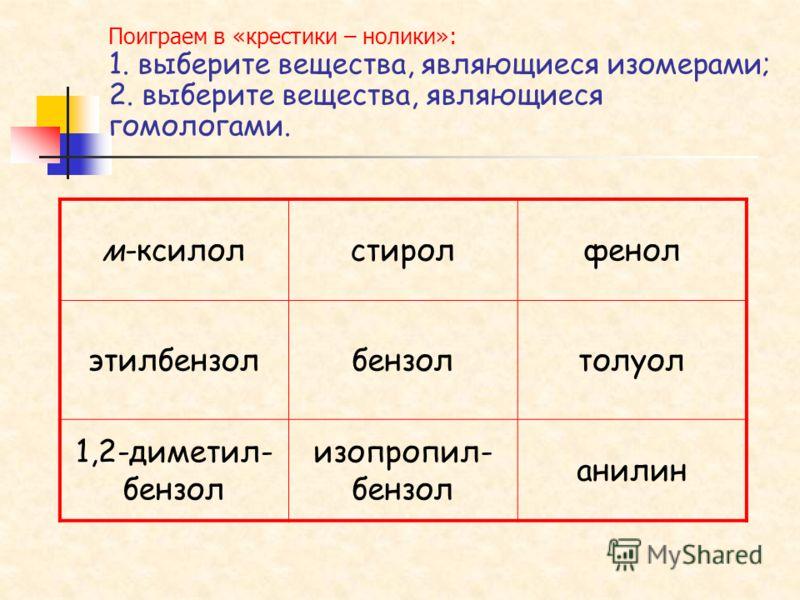 Поиграем в «крестики – нолики»: 1. выберите вещества, являющиеся изомерами; 2. выберите вещества, являющиеся гомологами. м-ксилолстиролфенол этилбензолбензолтолуол 1,2-диметил- бензол изопропил- бензол анилин