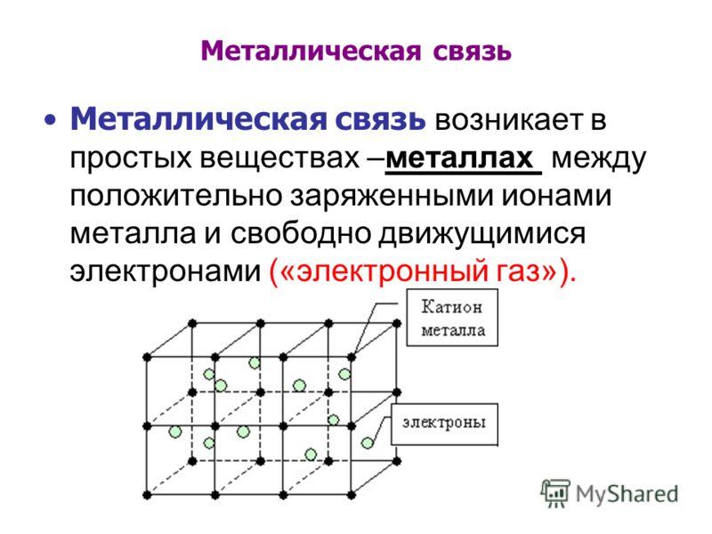 Металлическая связь Металлическая связь возникает в простых веществах –металлах между положительно заряженными ионами металла и свободно движущимися электронами («электронный газ»).