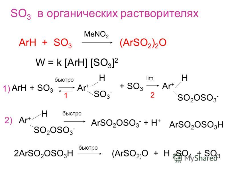 SO 3 в органических растворителях ArH + SO 3 (ArSO 2 ) 2 O MeNO 2 W = k [ArH] [SO 3 ] 2 ArH + SO 3 Ar + H SO 3 - быстро + SO 3 Ar + H SO 2 OSO 3 - lim 1 2 1) SO 2 OSO 3 - H 2)Ar + ArSO 2 OSO 3 - + H + ArSO 2 OSO 3 H 2ArSO 2 OSO 3 H быстро (ArSO 2) O