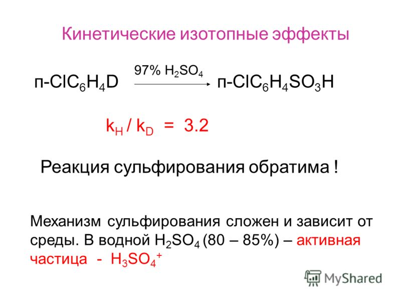 Кинетические изотопные эффекты п-СlC 6 H 4 D п-ClC 6 H 4 SO 3 H 97% H 2 SO 4 k H / k D = 3.2 Реакция сульфирования обратима ! Механизм сульфирования сложен и зависит от среды. В водной Н 2 SO 4 (80 – 85%) – активная частица - H 3 SO 4 +