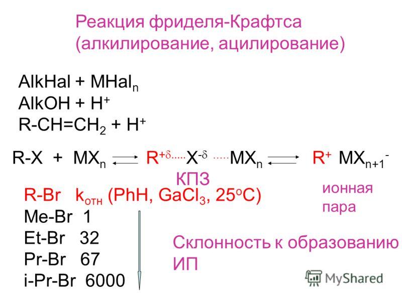 Реакция фриделя-Крафтса (алкилирование, ацилирование) AlkHal + MHal n AlkOH + H + R-CH=CH 2 + H + R-X + MX n R + X -..... MX n R + MX n+1 - КПЗ ионная пара R-Br k отн (PhH, GaCl 3, 25 o C) Me-Br 1 Et-Br 32 Pr-Br 67 i-Pr-Br 6000 Склонность к образован