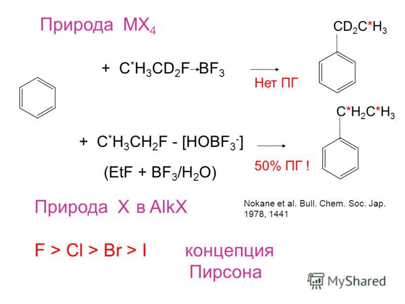 Природа MX 4 + С * H 3 CD 2 F BF 3 CD 2 C*H 3 + С * H 3 CH 2 F - [HOBF 3 - ] C*H2C*H3C*H2C*H3 50% ПГ ! Нет ПГ (EtF + BF 3 /H 2 O) Природа X в AlkX F > Cl > Br > I концепция Пирсона Nokane et al. Bull. Chem. Soc. Jap. 1978, 1441