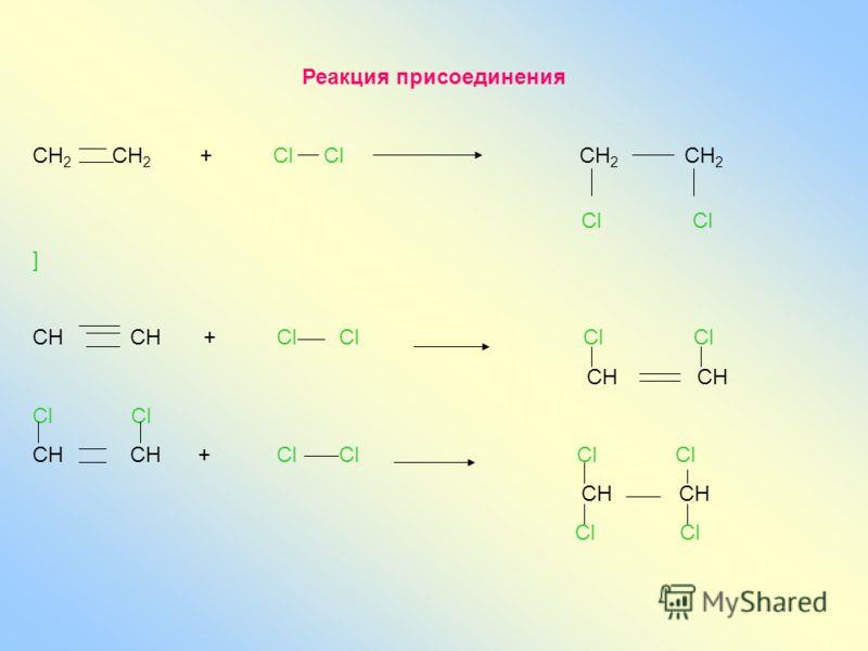 Реакция присоединения СН 2 СН 2 + Сl Сl СН 2 СН 2 Cl Cl ] СН СН + Cl Cl Cl Cl CH CH Cl CH CH + Cl Cl Cl Cl CH CH Cl Cl