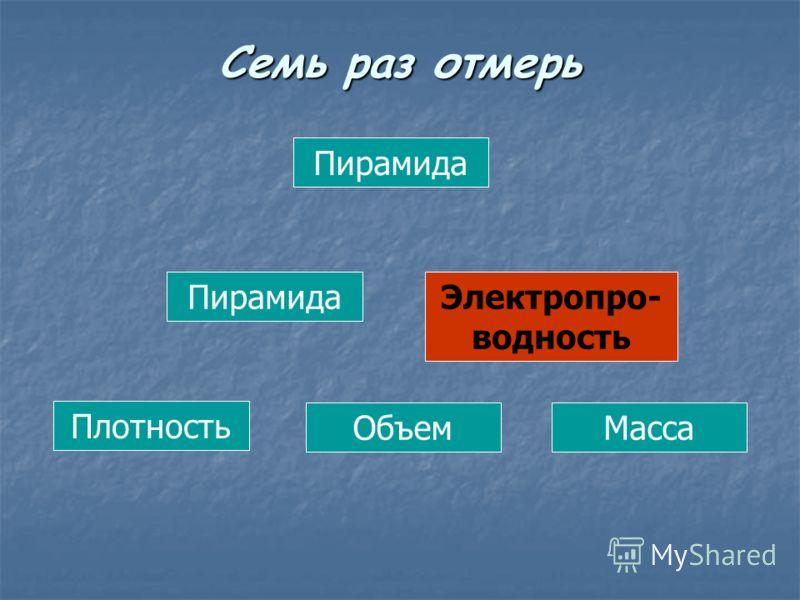 Пирамида Электропро- водность Плотность ОбъемМасса Семь раз отмерь