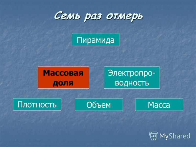 Пирамида Массовая доля Электропро- водность Плотность ОбъемМасса Семь раз отмерь