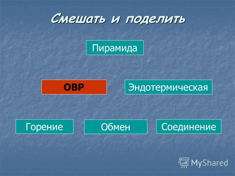 Пирамида ОВРЭндотермическая Горение Обмен Соединение Смешать и поделить
