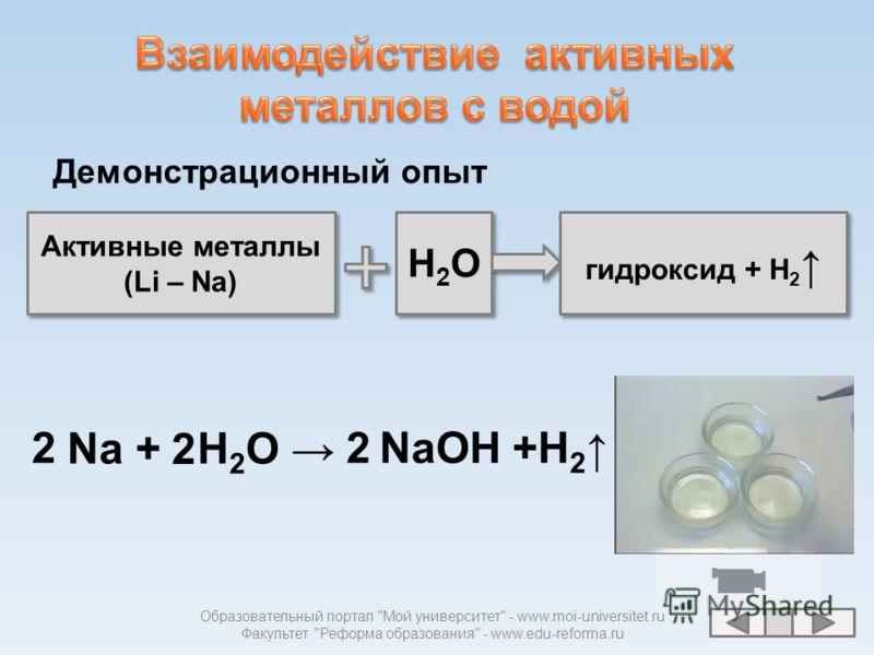 Активные металлы (Li – Na) Активные металлы (Li – Na) H2OH2O H2OH2O Li K Ba Sr Ca Na Mg Al Mn Zn Cr Fe Cd Co Ni Sn Pb (H 2 ) Cu Hg Ag Pt Au гидроксид + H 2 Металлы средней активности (Mg - Pb) Металлы средней активности (Mg - Pb) Неактивные металлы (