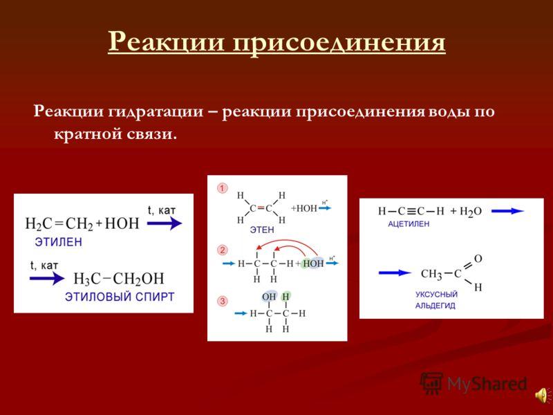 Реакции гидратации – реакции присоединения воды по кратной связи.