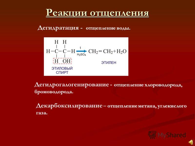 Дегидратация - отщепление воды. Дегидрогалогенирование - отщепление хлороводорода, бромоводорода. Реакции отщепления Реакции отщепления Декарбоксилирование – отщепление метана, углекислого газа.
