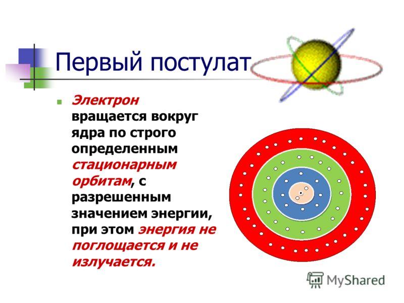Первый постулат Электрон вращается вокруг ядра по строго определенным стационарным орбитам, с разрешенным значением энергии, при этом энергия не поглощается и не излучается.