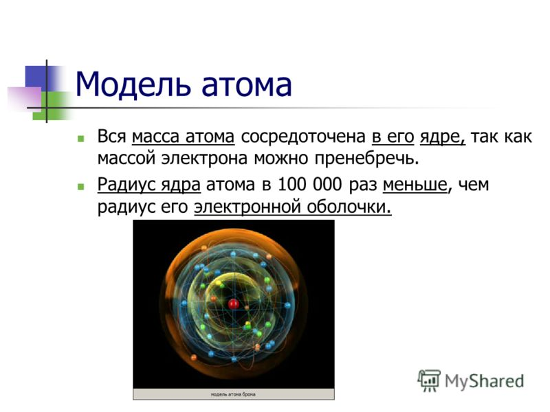 Модель атома Вся масса атома сосредоточена в его ядре, так как массой электрона можно пренебречь. Радиус ядра атома в 100 000 раз меньше, чем радиус его электронной оболочки.