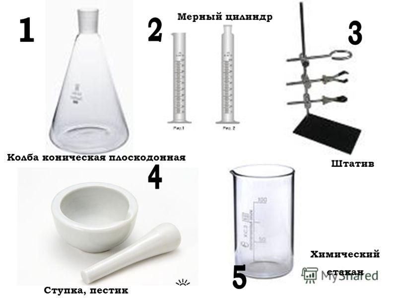 Колба коническая плоскодонная Ступка, пестик Мерный цилиндр Штатив Химический стакан