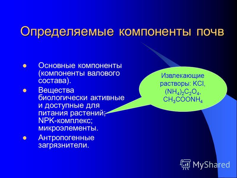 Определяемые компоненты почв Основные компоненты (компоненты валового состава). Вещества биологически активные и доступные для питания растений; NPK-комплекс; микроэлементы. Антропогенные загрязнители. Извлекающие растворы: KCl, (NH 4 ) 2 C 2 O 4, СН