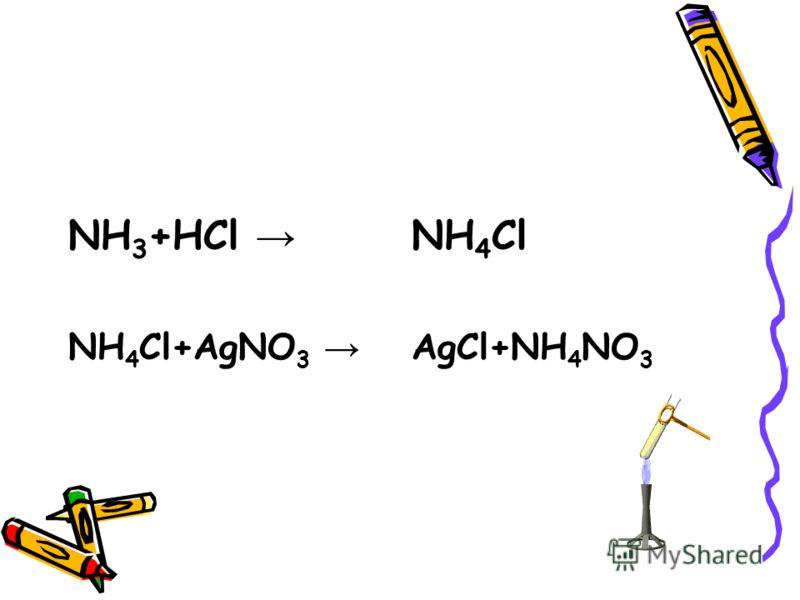 NH 3 +HCl NH 4 Cl+AgNO 3 NH 4 Cl AgCl+NH 4 NO 3