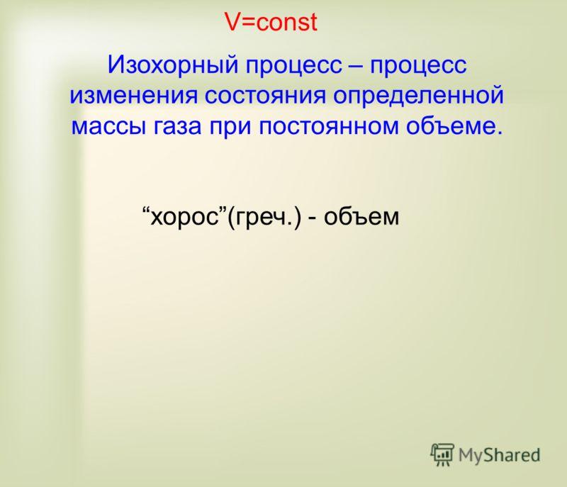 V=const Изохорный процесс – процесс изменения состояния определенной массы газа при постоянном объеме. хорос(греч.) - объем