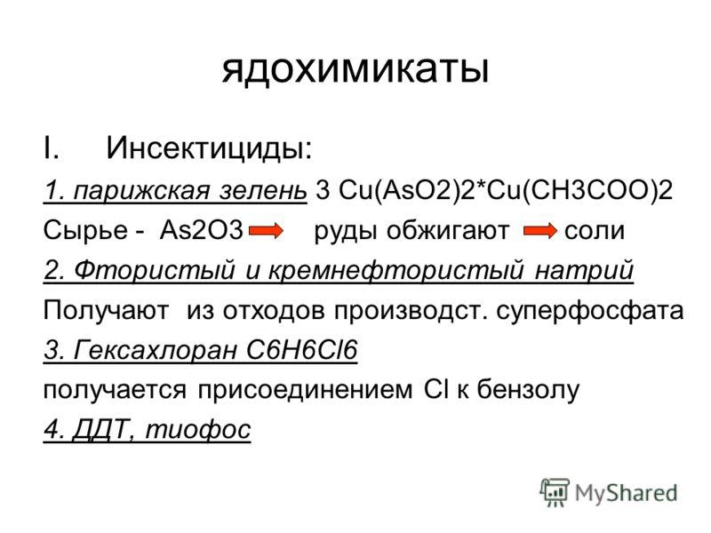 ядохимикаты I.Инсектициды: 1. парижская зелень 3 Сu(AsO2)2*Cu(CH3COO)2 Cырье - As2O3 руды обжигают соли 2. Фтористый и кремнефтористый натрий Получают из отходов производст. суперфосфата 3. Гексахлоран C6H6Cl6 получается присоединением Cl к бензолу 4