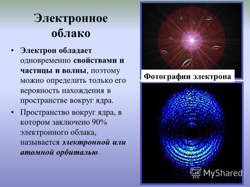 Электронное облако Электрон обладает одновременно свойствами и частицы и волны, поэтому можно определить только его верояность нахождения в пространстве вокруг ядра. Пространство вокруг ядра, в котором заключено 90% электронного облака, называется эл