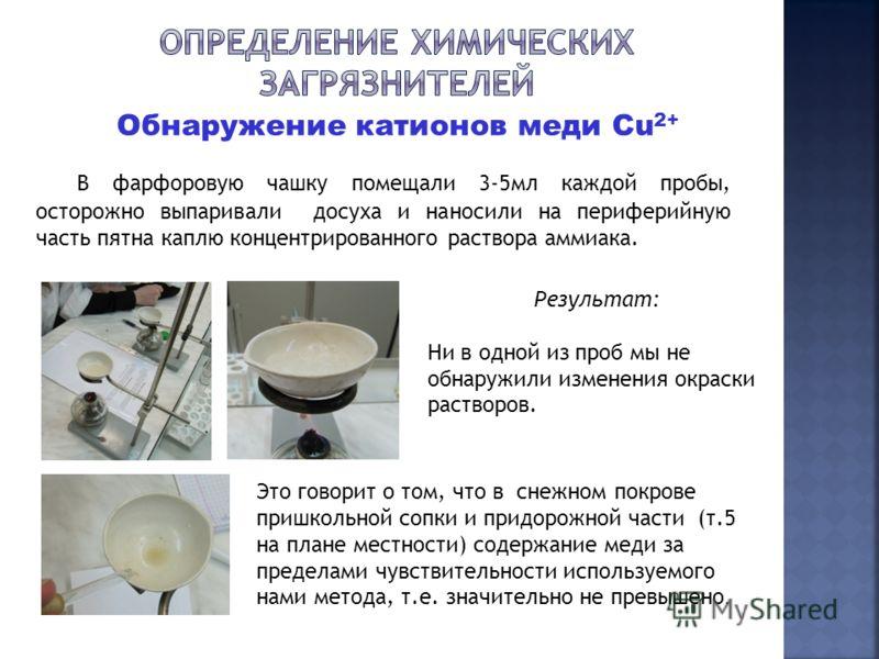 Обнаружение катионов меди Cu 2+ В фарфоровую чашку помещали 3-5мл каждой пробы, осторожно выпаривали досуха и наносили на периферийную часть пятна каплю концентрированного раствора аммиака. Результат: Ни в одной из проб мы не обнаружили изменения окр