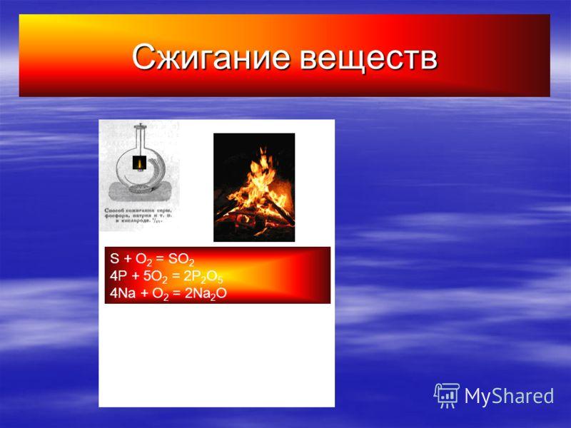 Сжигание веществ S + O 2 = SO 2 4P + 5O 2 = 2P 2 O 5 4Na + O 2 = 2Na 2 O