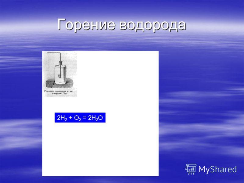 Горение водорода 2H 2 + O 2 = 2H 2 O