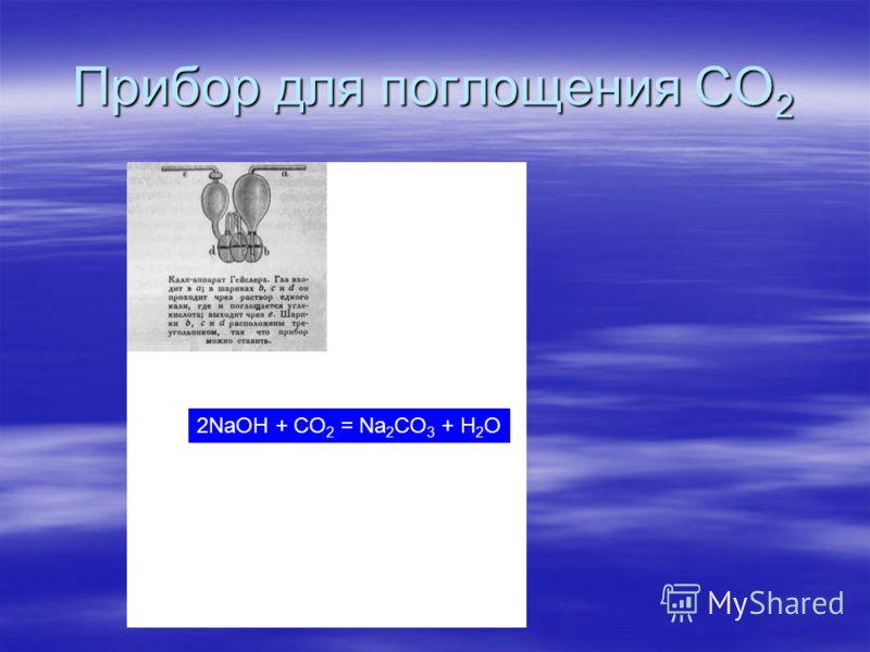 Прибор для поглощения CO 2 2NaOH + CO 2 = Na 2 CO 3 + H 2 O