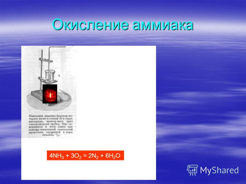 Окисление аммиака 4NH 3 + 3O 2 = 2N 2 + 6H 2 O