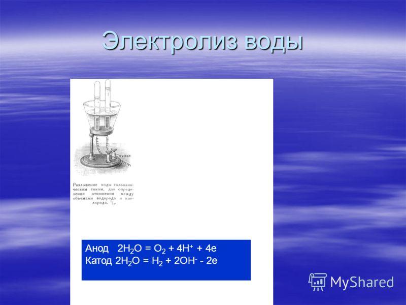 Электролиз воды Анод 2H 2 O = O 2 + 4H + + 4е Катод 2H 2 O = H 2 + 2OH - - 2e