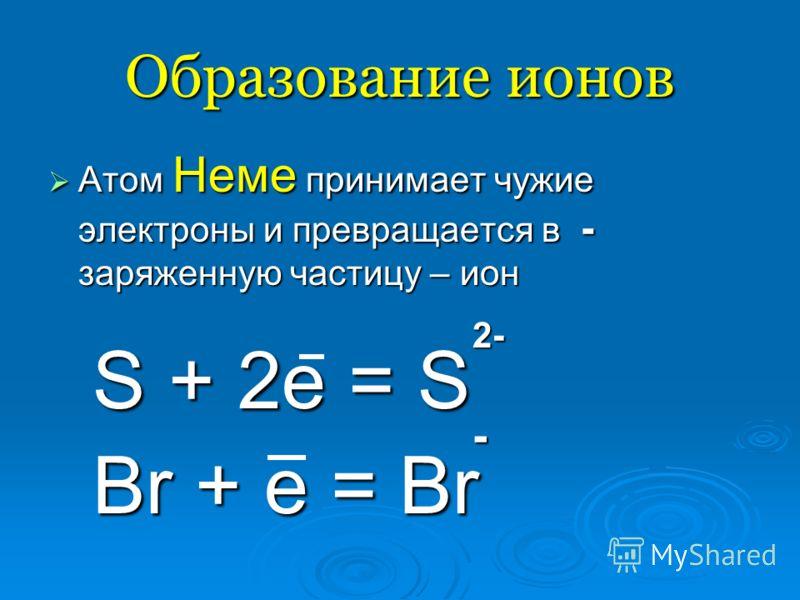 Образование ионов Атом Неме принимает чужие электроны и превращается в - заряженную частицу – ион Атом Неме принимает чужие электроны и превращается в - заряженную частицу – ион 2- 2- S + 2e = S S + 2e = S - Br + e = Br Br + e = Br