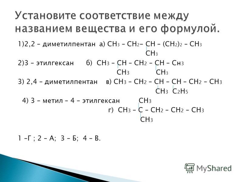 1)2,2 – диметилпентан а) СН 3 – СН 2 - СН – (СН 2 ) 2 – СН 3 СН 3 2)3 – этилгексан б) СН 3 – СН – СН 2 – СН – Сн 3 СН 3 СН 3 3) 2,4 – диметилпентан в) СН 3 – СН 2 – СН – СН – СН 2 – СН 3 СН 3 С 2 Н 5 4) 3 – метил – 4 – этилгексан СН 3 г) СН 3 – С – С